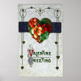 Nasturtiums Vintage Valentine Print