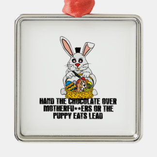 Nasty Easter bunny Silver-Colored Square Decoration