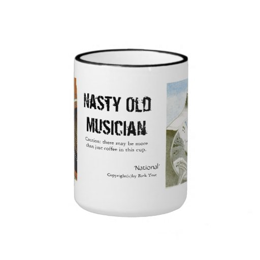 Nasty old musician coffee cup with guitars mugs