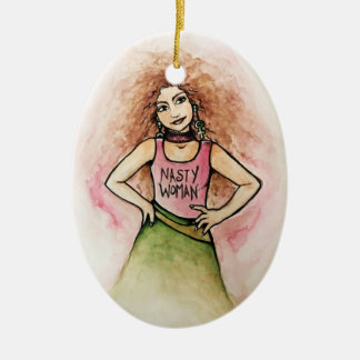 nasty woman ceramic oval decoration