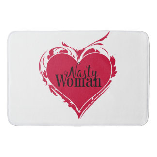 NASTY WOMAN red art HEART Bath Mat