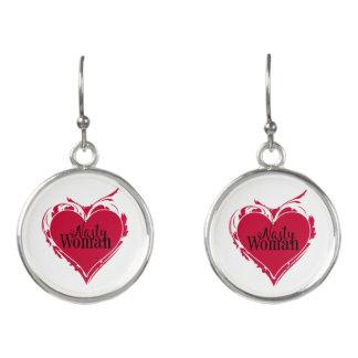 NASTY WOMAN red art HEART Earrings