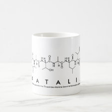 Mug featuring the name Natalia spelled out in the single letter amino acid code