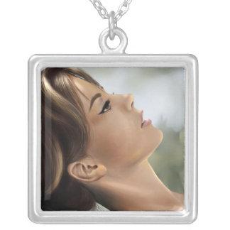 Natalie Wood Portrait Square Pendant Necklace