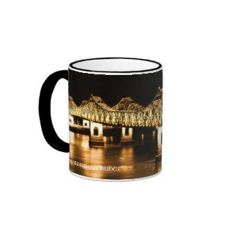 Natchez-Vidalia Bridge - Golden glow Ringer Mug