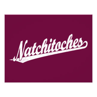 Natchitoches script logo in white distressed personalized flyer