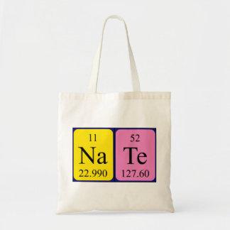 Nate periodic table name tote bag