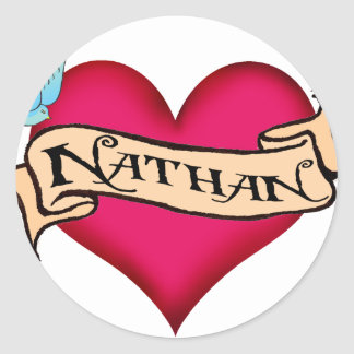 Nathan - Custom Heart Tattoo T-shirts & Gifts Sticker