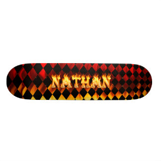 Nathan skateboard fire and flames design.