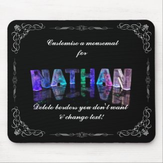 Nathan - The Name Nathan in 3D Lights (Photograph Mousepad