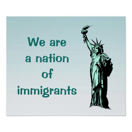 Nation of Immigrants Blue Poster