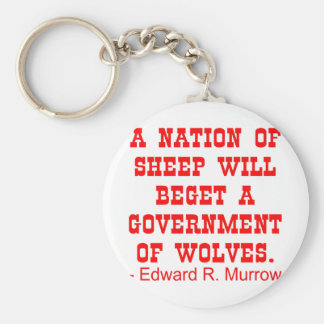 Nation Of Sheep Beget Government Of Wolves Basic Round Button Key Ring