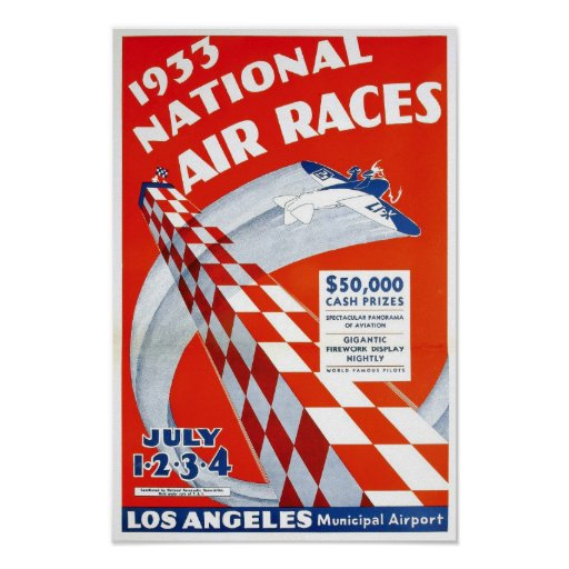 National Air Races, 1933. Vintage Advertising Poster