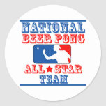 National Beer Pong Team Round Sticker