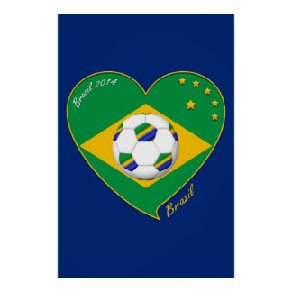 "National Brazilian football team. Soccer ""BRAZIL "" Print"