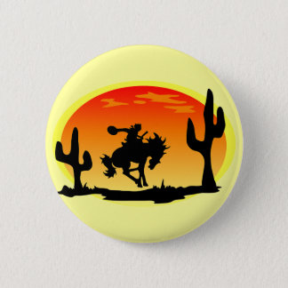 National Day of the Cowboy Bronco Silhouette 6 Cm Round Badge