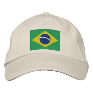 National Flag of Brazil in Green, Yellow and Blue Embroidered Hat