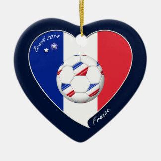 National flag of FRANCE SOCCER of world 2014 Ceramic Heart Decoration