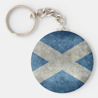 National flag of Scotland - Vintage version Basic Round Button Key Ring