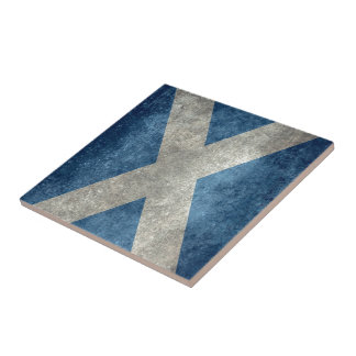 National flag of Scotland - Vintage version Small Square Tile