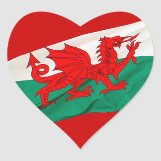 National Flag of Wales, The Red Dragon Patriotic Heart Sticker
