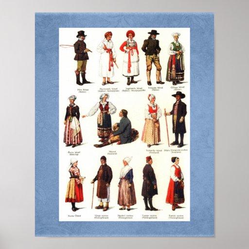 National Folk Costumes of Sweden Poster