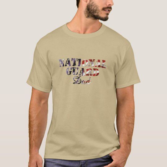 National Guard Dad American Flag T-Shirt