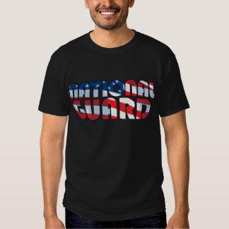 NATIONAL GUARD in Waving American Flag Font Tee Shirt