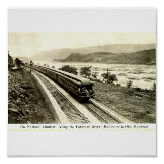 National Limited Baltimore & Ohio Railroad 1920s Poster
