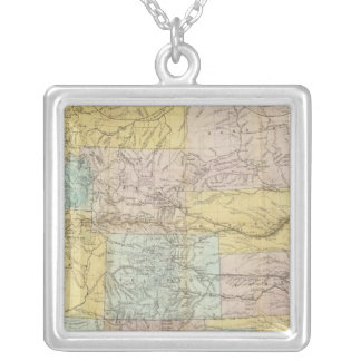 National Map Of The Territory Of The United States Silver Plated Necklace