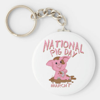National pig day key chain