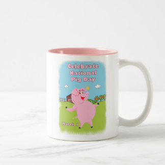 National Pig Day March 1st Two-Tone Mug