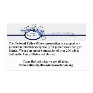 National Police Wives Association Referral cards Pack Of Standard Business Cards