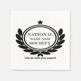 National Sarcasm Society Humor Quote Sarcastic Fun Paper Napkins