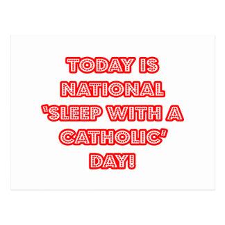 National 'Sleep With a Catholic' Day Postcard