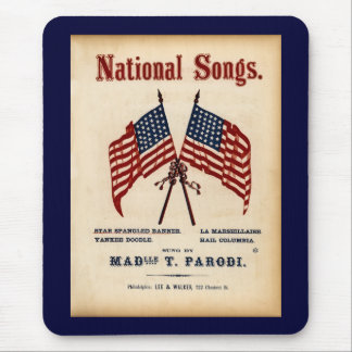 National Songs Vintage Sheet Music Mouse Pad