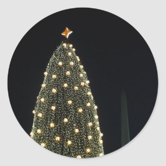 National Tree and Washington Monument at Night DC Round Sticker