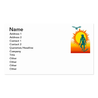 Native Aboriginal in front of a gold sun Business Card Template