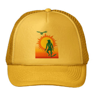 Native Aboriginal in front of a gold sun Trucker Hats