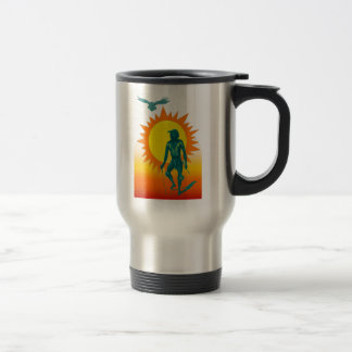 Native Aboriginal in front of a gold sun Coffee Mug