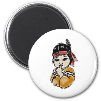 Native American 6 Cm Round Magnet