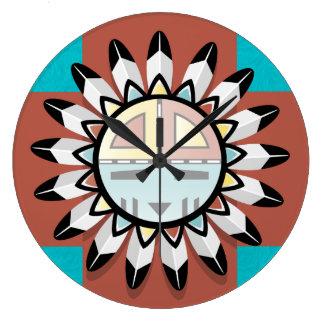Native American Abstract Art Hopi Mask Large Clock