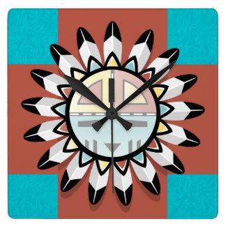Native American Abstract Art Hopi Mask Square Wall Clock