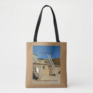 """Native American Adobe Housing """"Tred Lightly"""" Quote Tote Bag"""
