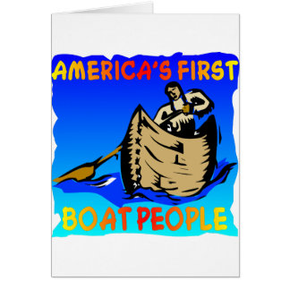 Native American Americas First Boat People Card