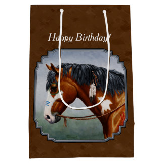 Native American Bay Pinto Horse Brown Medium Gift Bag