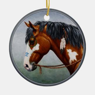 Native American Bay Pinto War Horse Round Ceramic Decoration