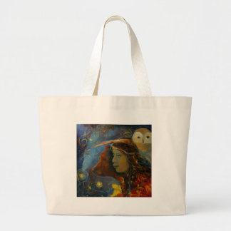 Native American Bear and Owl Animal Spirits Large Tote Bag