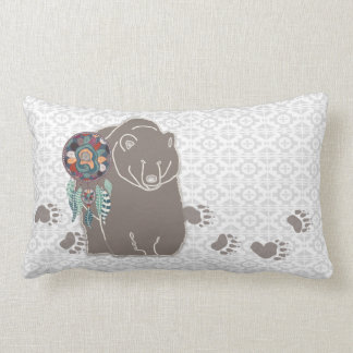 Native American Bear Spirit Guide with Tracks Lumbar Cushion