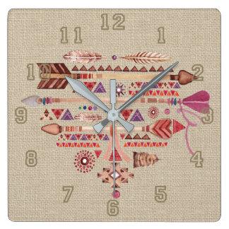 Native American Boho Feathers Arrows Heart Square Wall Clock